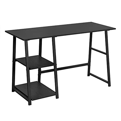 WOLTU Escritorio Mesa de Trabajo Mesa de Oficina Mesa de Ordenador portátil con 2 estantes, de Madera y Acero 120x50x73cm Negro TSG25sz