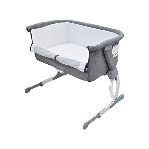 WJMLS Cuna del bebé, Cuna portátil Incluye Bolsa de Viaje, de 1,2' colchón Firme, Hoja Transpirable y 7 de Altura Ajustable