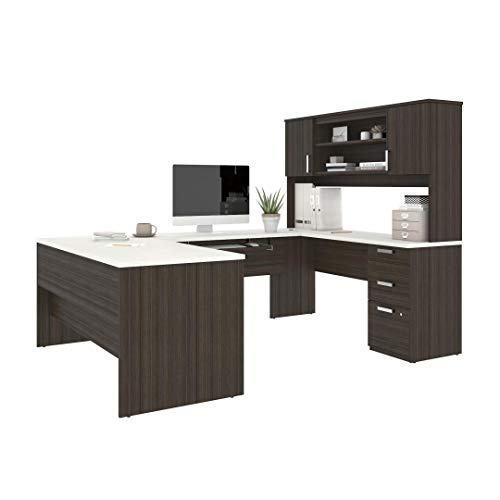Bestar, Universel Collection, Executive Computer Desk with Pedestal and Hutch