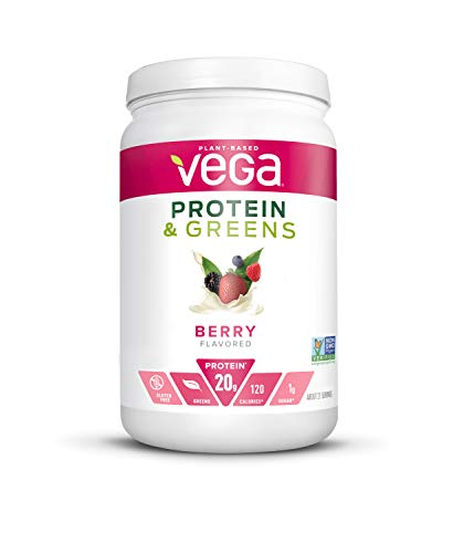 Vega Protein and Greens, Berry, Plant Based Protein Powder Plus Veggies - Vegan Protein Powder, Keto-Friendly, Vegetarian, Gluten Free, Soy Free, Dairy Free, Lactose Free (21 Servings, 1lb 5.5oz)