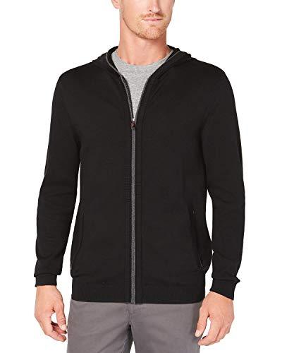 Tasso Elba Mens Full-Zip Ribbed Hooded Sweater Black 2XL