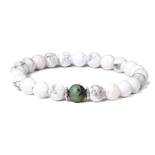 MNJLB Handmade Stretch Stone Bracelets Natural Polished Turquois Stone Elastic Bracelets,Women Men Vintage Siver Color Spacer Charm Rose Beads Bangle For Girl Her Jewelry Gift,New Polar Jade,19Cm