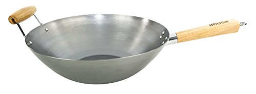 IMUSA USA WPAN-10018 Non-coated Wok with Wooden Handles 14-Inch, Silver