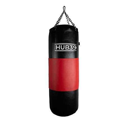 Hub39 Boxsack aus Leder, Vollleder, 40 kg, Sack – Boxsack, Länge: 100 cm, Voll-Boxsack, 40 kg (schwarz, rotes Band)