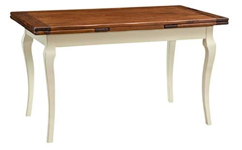 Biscottini Table Extensible en Bois Massif de Tilleul – Style Country – Style Shabby – Structure Blanche vieillie Plan Noyer L 140 x P 80 x H 80 cm