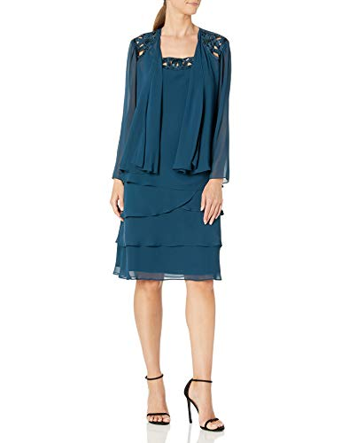 SL Fashions Women's Embellished Tiered Sequin Jacket Dress (Petite and Regular), Mid Teal, 12