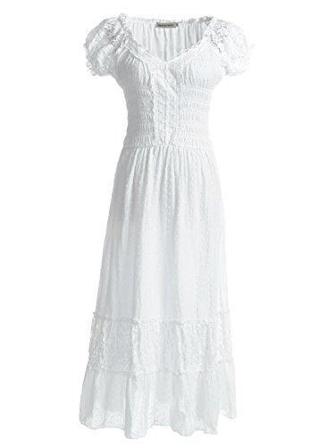 ANNA-KACI weiß Kleine Größen Smock Taille Sommer-Maxi Kleid mit Flügelärmeln Boho Gypsy