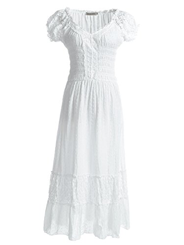 Anna-Kaci Renaissance Peasant Maiden Boho Inspired Cap Sleeve Lace Trim Dress, Cream, Medium