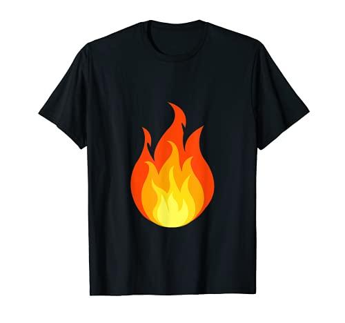 Funny Fire Emoji Flame Hot Halloween Costume Tee T Shirt T-Shirt