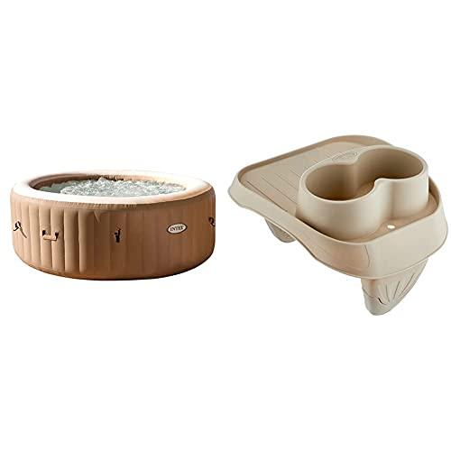 Intex 28426 Pure Spa Bubble Therapy, 196 X 71 Cm 4 Posti, Sabbia, con Pompa, Riscaldatore, Sistema Purificazione Acqua, Beige Classic & Purespa, Portabicchieri in Plastica Beige, 26 X 22 X 18 Cm
