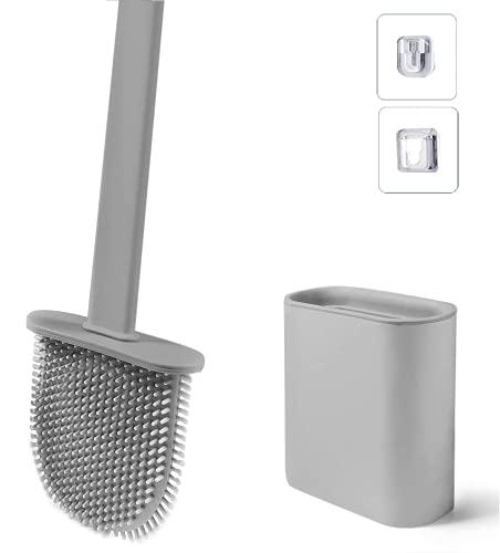 Scopino per WC con Supporto, Scopino in Silicone ad Asciugatura Rapida con Base Rimovibile, Adatto per Gli Angoli e i Piccoli Spazi tra Le Toilette e Le Pareti