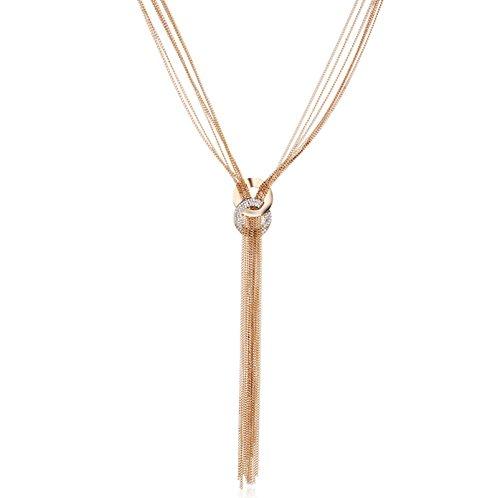 Beydodo Collares Mujer Joven Largos Bisuteria Borla Larga Cadena Multicapas Colgante de Mujer Colgante Collar Oro