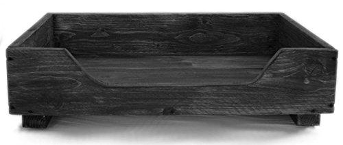 Cama de madera para perros medianos - 100 x 60 cm - color: negro - cesta para perros / sofá para perros / cama para gatos de madera maciza