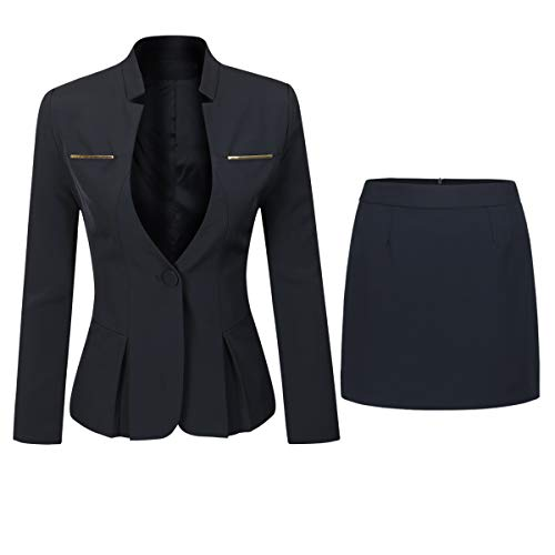 YYNUDA Women's Suit 2 Piece Slim Fit One Button Blazer Jacket Office Work Trouser Suits Skirt Suits, Black 2, M