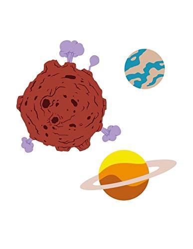 Sticker Garçon : 3 planètes - Format : 32 x 32