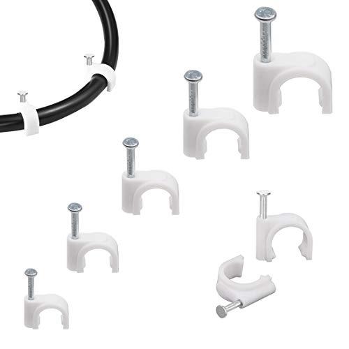 500 Stücke Kabelschellen Nagelschellen Haftclips mit Nagel für Kabel Größen: 5mm, 6mm, 7mm, 8mm,10mm, 100 Stück je Größe, Weiß (Weiß)