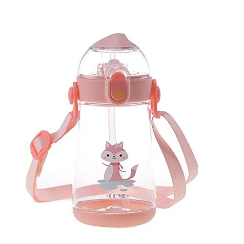 Yidieman Botella Deportiva,Botella de Agua de Dibujos Animados Tritan con asa de Paja-Pink_550ML,Sin BPA con Pajita para gimnasi,hogar,Oficina,Actividades al Aire Libre