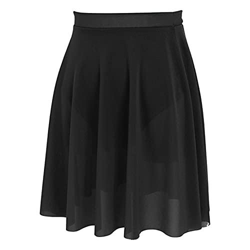 iiniim Falda de Baile Latino para Mujer Falda de Gasa de Ballet Danza con Bragas Interior Vestido Falda Elegante Vintaje Ropa de Baile Tango Negro M