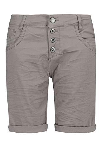 Sublevel Damen Bermuda-Shorts mit Aufschlag & Knopfleiste Light-Grey L