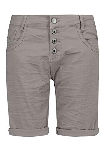 Sublevel Damen Bermuda-Shorts mit Aufschlag & Knopfleiste Light-Grey XL