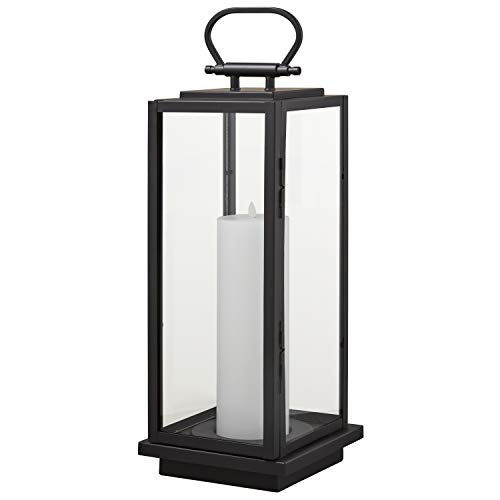 Amazon Brand  Stone & Beam Modern Decorative Outdoor Metal and Glass Lantern with LED Candle - 9 x 9 x 25 Inches, Black, For Indoor Outdoor Use