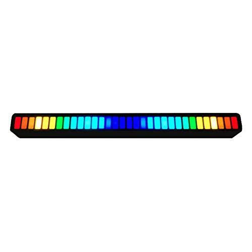 Lámparas De Barra Led Música Multicolora Atmósfera De Control De Sonido Tira Led con Función Activa De Sonido Luz De Ritmo De Música para Automóvil Negro.