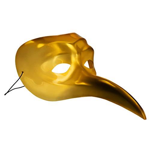 Claptone Original Maske in Gold | Venezianische Maske auch als Kostüm für Karneval, Fasching, Halloween, Maskenball u.v.m.