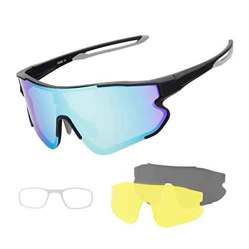 Gafas De Sol Polarizadas para Hombres, Tres Lentes, Protección UV400 Gafas De Ciclismo, Protección Múltiple De Visión Nocturna para Mujeres E
