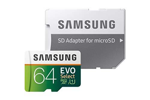 Samsung EVO Select 64 GB microSD 100MB/s, Geschwindigkeit, Full HD & 4K UHD Speicherkarte inkl. SD-Adapter für Smartphone, Tablet, Action-Kamera, Drohne und Notebook