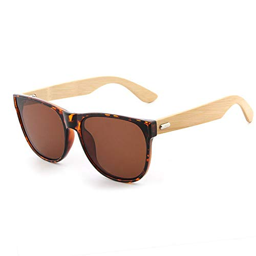 Occhiali da sole Bamboo Legs Occhiali da sole Bamboo Glasses UV Protection Occhiali da sole Specchio parasole Occhiali alla moda (Color : 02Tea, Size : Gratuito)