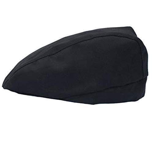 MB-LANHUA Mens Womens Chef Hat Pastry Baker Kitchen Cook Coffee Shop Duckbill Beret Cap Black