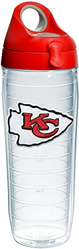 Tervis NFL Kansas City Chiefs Primary Logo Tumbler with Emblem and Red with Gray Lid 24oz Water Bottle, Clear