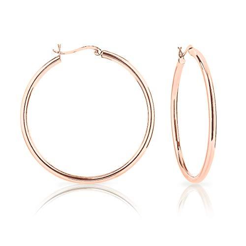 DTPsilver - Damen - Creolen - Ohrringe 925 Sterling Silber Rosen Vergoldet - Dicke 3 mm - Durchmesser 50 mm