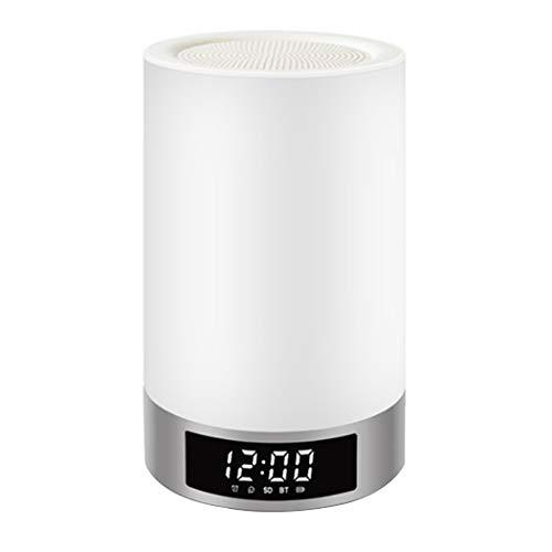 Mslike Reloj Alarma Reloj Bluetooth Inteligente Led Estéreo Noche Luz Tarjeta Reproducción de música Adecuado para Interior de automóvil, Viajes al Aire Libre, Escritorio, Dormitorio, Regalo