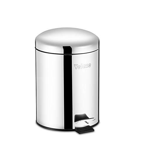 Velaze Cubo de Basura de Acero Inoxidable, Cubo de Reciclaje con Pedal y Cubo Interior de Plástico Extraíble para Cocina, Oficina y Hogar con 20 Bolsas de Basura(5L)