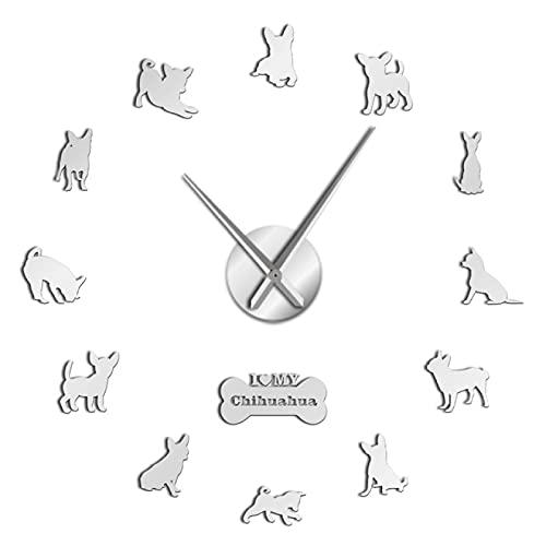 hufeng Reloj de Pared México Raza de Perro Chihuahua DIY Reloj de Pared de acrílico 3D con Gran Reloj Manos Efecto de Espejo Números Etiqueta Perro Mascota Reloj de Pared Gigante