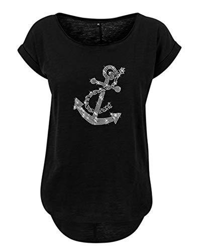 BlingelingShirts Camiseta de mujer con diseño de ancla, puerto, navegación, barco