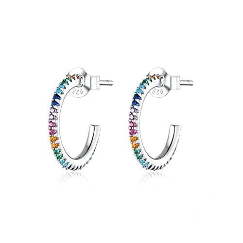 Pendientes Mujer Pendientes De Botón De Arco Iris De Ley 925 Pendientes Simples De Circonita Colorida Regalo De Joyería De Fiesta De Boda Plata