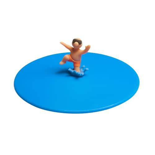 Lurch 210889 Splash Freddy Freestyle - Coperchio in vetro 100% silicone senza BPA, Ø 10,5 cm, colore: Blu