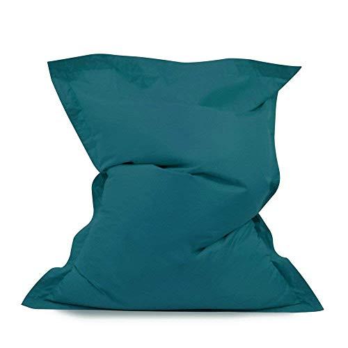 Bean Bag Bazaar - Cojín Gigante de poliéster para el Suelo, Color Verde Azulado, 140 cm x 110 cm, Resistente al Agua, para Uso en Interiores y Exteriores, 1 Paquete