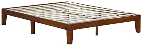 Zinus Wen 12 Inch Wood Platform Bed Frames / No Box Spring Needed / Wood Slat Support / Cherry Finish Queen