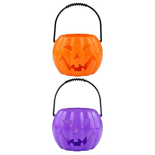 SOLUSTRE 2 Unidades de Cesta de Dulces de Halloween Tarro Luminoso de Calabaza Luz de Calabaza con Sonido de Jardín de Infantes Luces Decorativas de Calabaza Accesorios