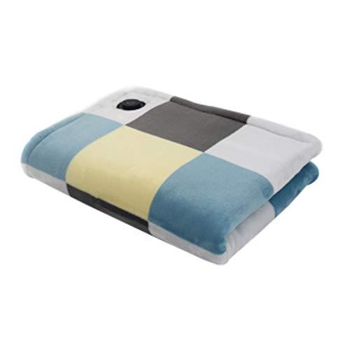 LIANG Manta eléctrica cálida para coche, manta térmica portátil USB (23 x 31 pulgadas) para coche, elegante, segura y fácil de cuidar, para viajes, oficina, hogar, exterior y vehículo (color azul)
