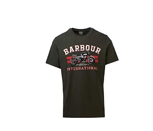 Barbour Batee0446-Gm43 International Brackett - Camiseta de cuello redondo 100% algodón Dark...