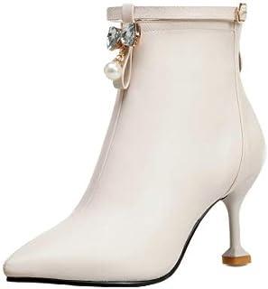 AbbyAnne Women Sweet Autumn Boots High Heels Zipper Boots Bow