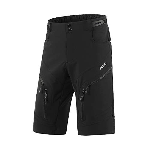 ARSUXEO Men's Loose Fit Cycling Shorts MTB Bike Shorts Water Ressistant 1903 Black Size Large