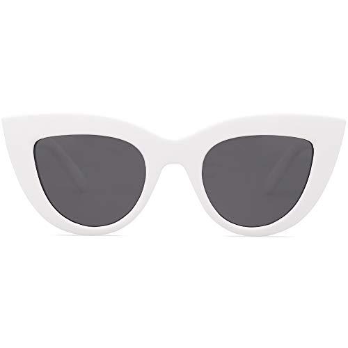 SOJOS Retro Vintage Cateye Sunglasses for Women UV400 Mirrored Lens SJ2939 with White Frame/Grey Lens