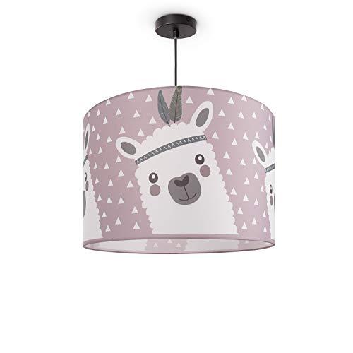 Paco Home Kinderlampe Deckenlampe LED Pendelleuchte Kinderzimmer Lampe Lama-Motiv, E27, Lampenschirm:Pink (Ø45.5 cm), Lampentyp:Pendelleuchte Schwarz