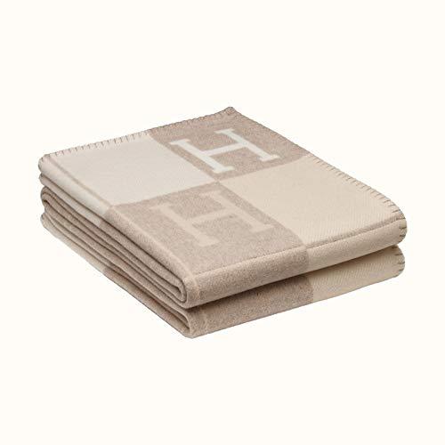 H Letter Kaschmirdecke Schal Fliegende Decke Dicke Warme Klimadecke Wollsofadecke,Khaki-140X170cm