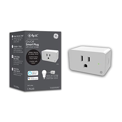 Enchufe inteligente C by GE, color blanco, enchufes inteligentes de encendido/apagado que funcionan con Alexa y Google Home, Bluetooth y WiFi Smart Plugs, no requiere hub